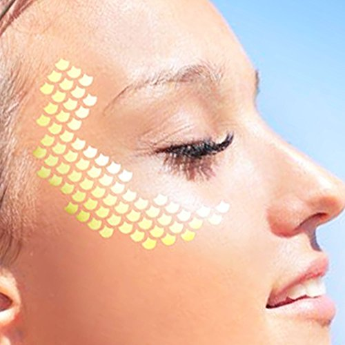 Waterproof Body Tattoo Sticker (Face Tattoo Sticker Metallic Shiny Temporary Water Transfer Tattoo for Professional Make Up Dancer Costume Parties, Shows Gold Glitter (003))