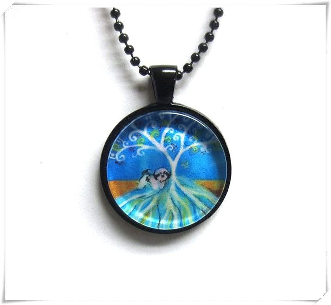 Shih Tzu Art Arbre de vie de la peinture d'impression Art Collier de pendentif en verre, un superbe Cadeau. meet you VT57