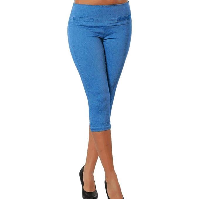 Pantalones Mujer, ASHOP Bolsillo sólido de Mayor tamaño Pantalones Vaqueros Ocio Estilo Jeans Boho de Impreso Cintura de Cordón Pantalón Fitness Leggings: ...