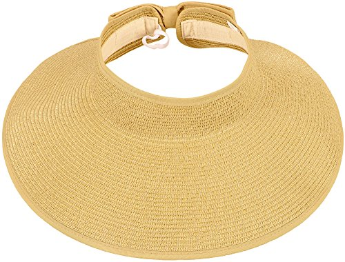 Simplicity Women's Wide Brim Roll-up Straw Hat Sun Visor - Wrap Straw