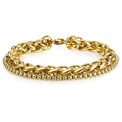 Trendsmax Double Wheat Link Box Chain Bracelet Mens Boys Stainless Steel Stack Bracelets Gold 9 inch