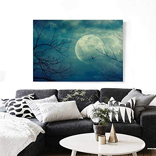 Warm Family Horror House Canvas Wall Art for Bedroom Home Decorations Halloween with Full Moon in Sky and Dead Tree Branches Evil Haunted Forest Print Wall Stickers 48