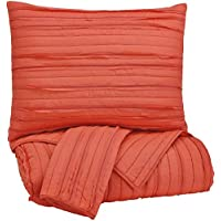 Ashley Furniture Signature Design - Solsta Coverlet Set - Includes Coverlet & 2 Shams - Queen Size - Coral