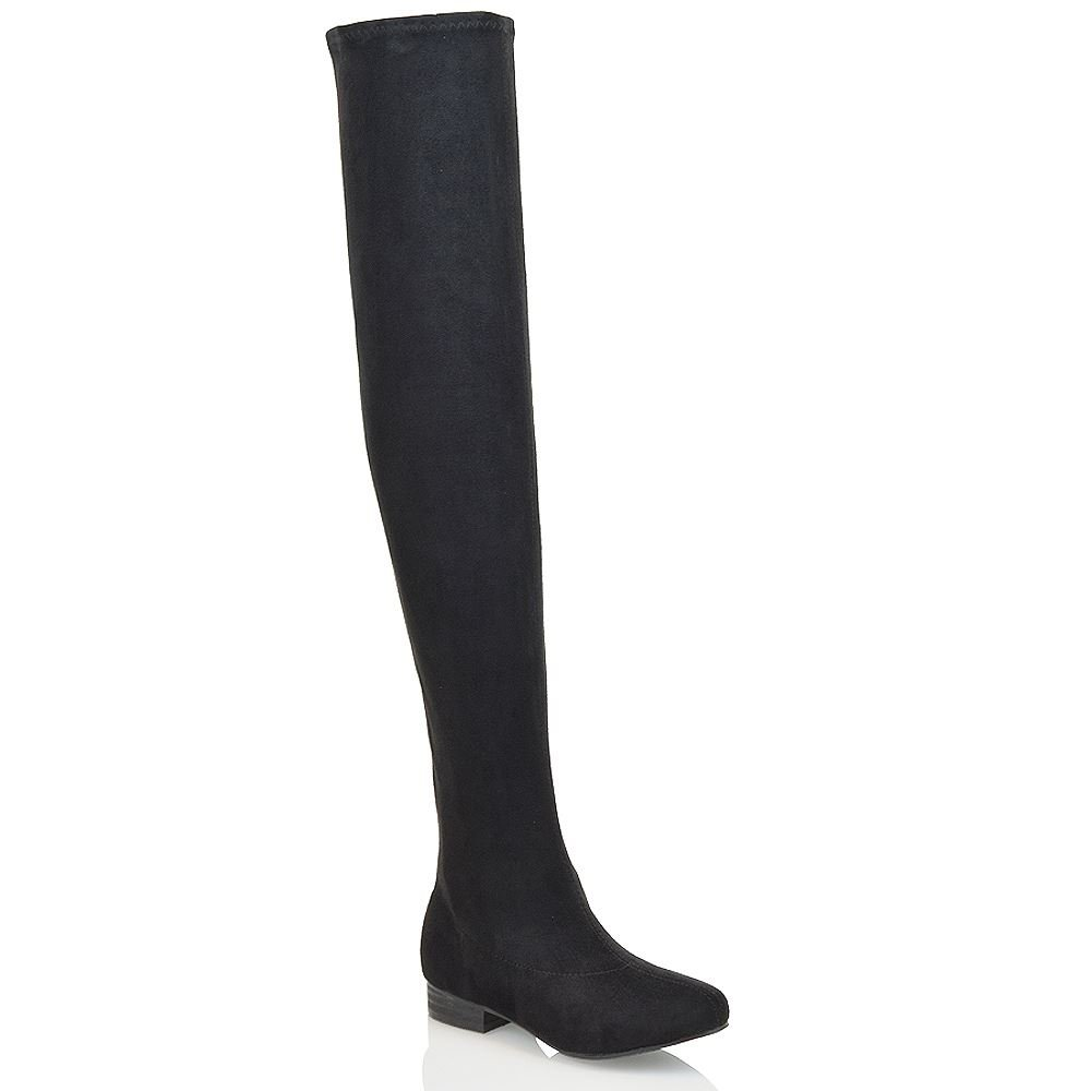 ESSEX GLAM Womens Thigh High Stretch Black Faux Suede Over The Knee Boots 8 B(M) US