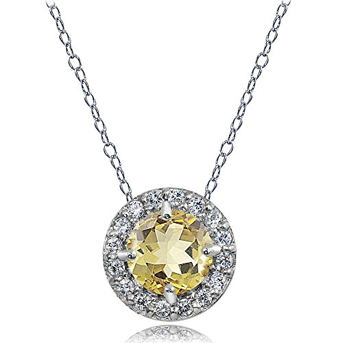 Ice Gems Sterling Silver Citrine and White Topaz Round Halo Necklace