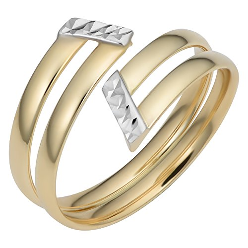 Kooljewelry 14k Two-tone Gold 12 mm Double Bypass Ring (size 7) ()
