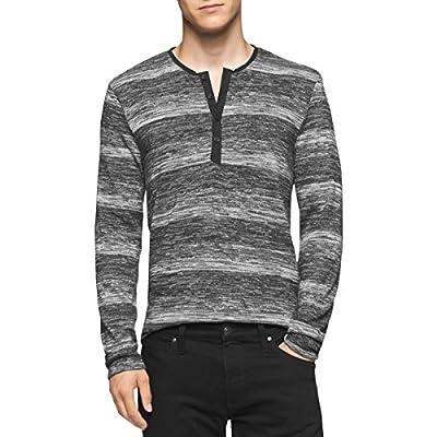 Calvin Klein Mens Marled Slim Fit Henley Sweater