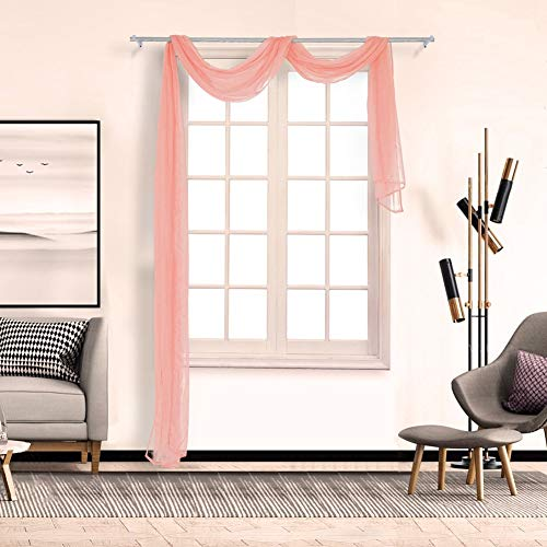 Window Treatment Home Decoration Scarfs Sheer Clear Waterfall Curtains Valance Solid Color, 90500cm