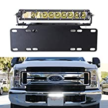 iJDMTOY 50W High Power CREE LED Light Bar w/ Front License Plate Mounting Bracket, Relay Switch Wiring Kit For Truck SUV Car ATV Van, etc