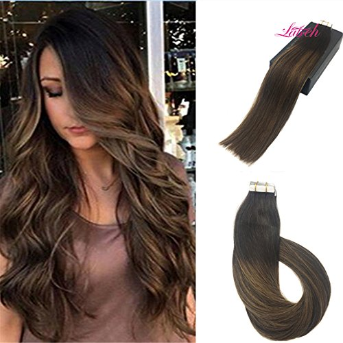 Labhair Tape In Hair Extensions Human Hair Honey Blonde Mixed Dark Brown Colorful #2 Fading to #6 with #2 Real Human Hair Extensions 50g - Fedex Delivery Normal Times