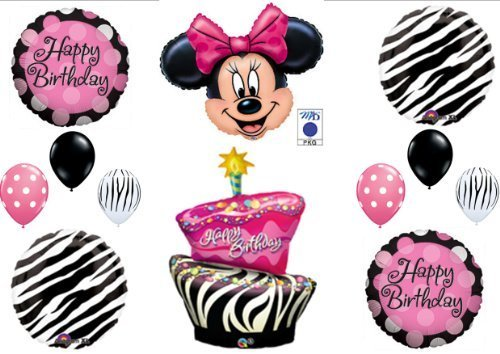 MINNIE MOUSE AND ZEBRA CAKE BIRTHDAY PARTY Balloons Decorations Supplies by Anagram (Minnie Mouse Zebra Decorations)