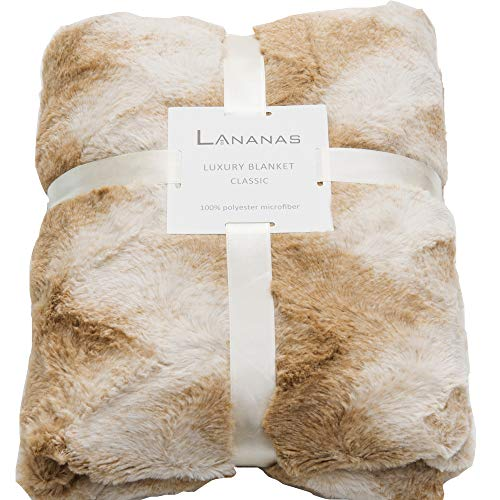 (Lananas Faux Fur Throw Blanket Fuzzy Luxurious Cozy Warm Fluffy Soft Throw Blanket for Couch Chair Living Room (Wave-1, 50