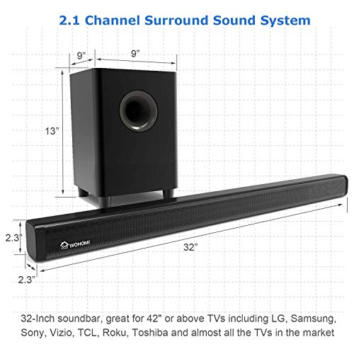 2.1 Channel Bluetooth Sound Bar Wohome TV Soundbar with Subwoofer 120W 32Inch 95dB 4 Drivers Remote Control 2019 Updated Model S18 by WOHOME (Image #5)