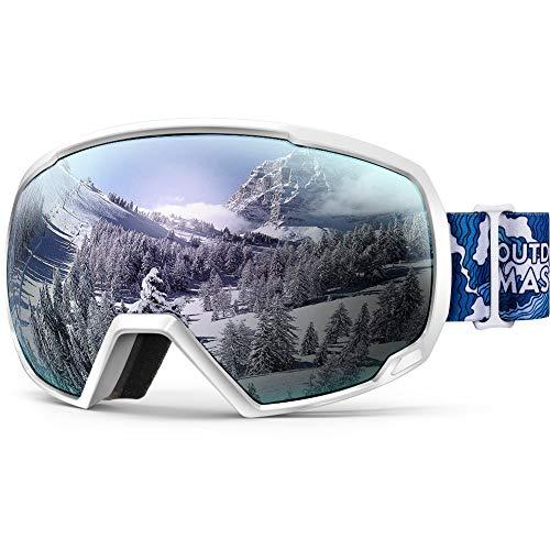 OutdoorMaster OTG Ski Goggles - Over Glasses Ski/Snowboard Goggles for Men, Women & Youth - 100% UV Protection (White Wave Frame + VLT 12% Sliver Lens) ()