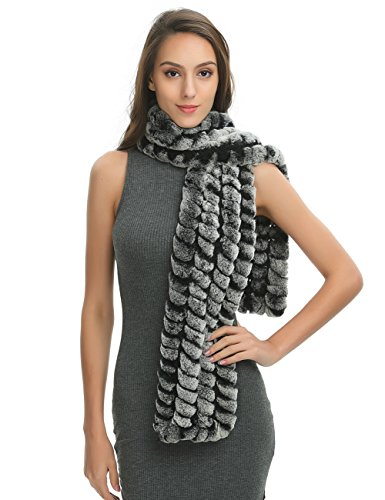 (Ferand Women's Long Striped Real Rex Rabbit Fur Scarf, Lightweight and Soft, Warm Neck Scarf for Winter, Black beige)