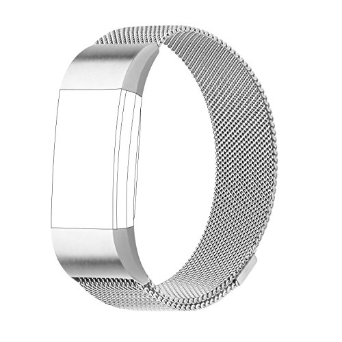 POY Metal Replacement Bands Compatible for Fitbit Charge 2, Milanese Loop Stainless Steel Bracelet Smart Watch Strap with Unique Magnet Lock, Small Silver