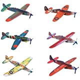 """MS 12pcs Novelty 8"""" Flying Glider Planes Toy For Party Kids Hand Launch, Styrofoam Assorted Easy Assembly"""