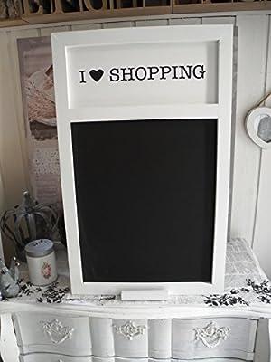 Pizarra con inscripción en inglés «I Love Shopping»