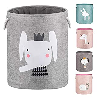 """AXHOP 22"""" Upgrade Large Collapsible Laundry Basket with Lid, Toy Storage Baskets Bin for Kids, Dog, Toys, Blanket, Clothes, Cute Animal Laundry Hamper (Grey Elephant)"""
