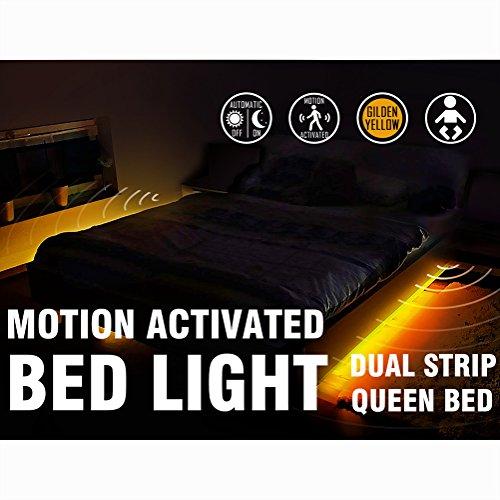 Motion Activated Bed Light Emotionlite LED Motion Sensor Bedside Light Strip Bias Lighting Bedroom Light with Automatic Off Warm White 1600K(Under Bed Cabinet Dark Corner)(Double Strip/Queen Bed)