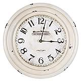discounted home decor Yosemite Home Decor Circular Iron Wall Clock, Frame, White Face, Text, Black Hands