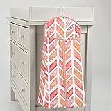 Carousel Designs Coral Watercolor Herringbone Diaper Stacker