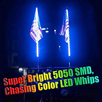 One Whip AL4X4 3FT LED Whip Lights 360/°Spiraling Rising Dream Wrapped Dancing Whips Bluetooth Controlled with Music Mode for Polaris RZR ATV Antenna Whip UTV Quad Sand Dune Buggy Flag Poles