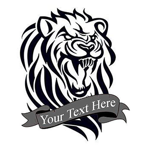 Custom tribal lion temporary tattoo | Fake removable customized cat tattoos design | Add text to temp tatoo. Sticker designs last 2-5 days & decals go on with water. Personalized decal stickers
