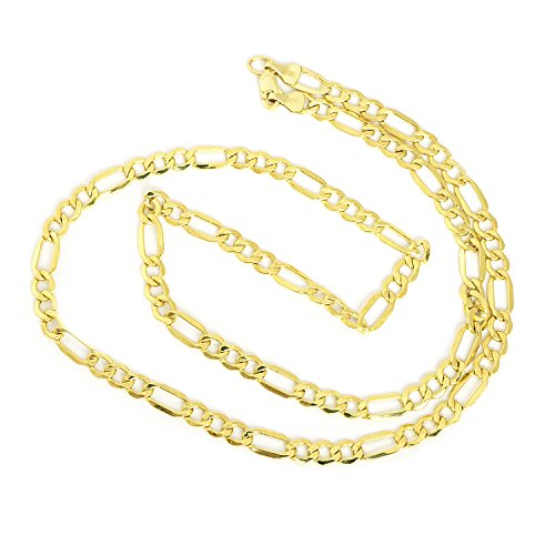 Men's 14k Yellow Gold Hollow Links Figaro 4.6mm Chain Necklace, 18'' by Beauniq