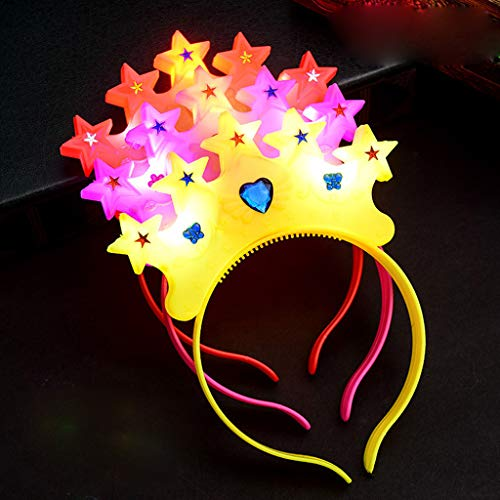 Glumes Party Favor LED Crown Headband Lights Glow in The Dark for Womens Girls ,Floral Garland Wreath Headdress Wedding Birthday 2019 New Year Holiday Party Decors