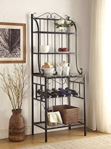 Amazon Com 4 Tier Black Metal Marble Finish Shelf