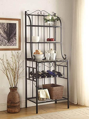 Awesome 4 Tier Black Metal Marble Finish Shelf Kitchen Bakers Rack With 5 Bottles  Wine Storage