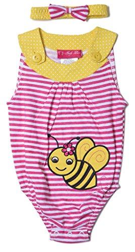 Baby Bumblebee Outfit ([18272-PNK-6/9M] Baby Girls Bodysuit 2-Piece Set: 1 Playsuit, 1 Headband 6-9 mos)
