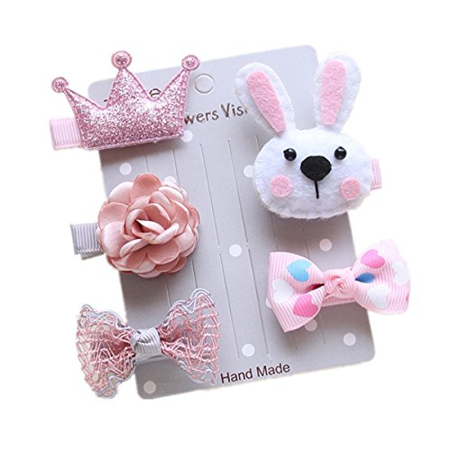 SUSOKI Baby Girls Hair Clips Barrettes Hair Bands Bow Tie Snap Alligator Baby Accessories for Baby Girls Toddler Kids Children (rabbit, pink) (Embroidered Nylon Tie)