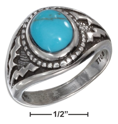 Sterling Silver Oval Reconstituted Turquoise with Wide Aztec Design Shank (size 09)