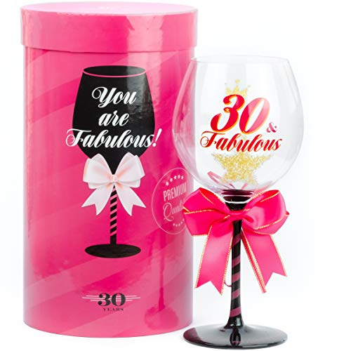 30 and Fabulous Birthday Wine Glass for Women | Fun Gift for Woman Turning Thirty Years Old | Best Friend, Girlfriend, Daughter, Sister, Cousin, Niece, Co-Worker | Big 23 oz, 8.8 Inch Tall Wine Glass