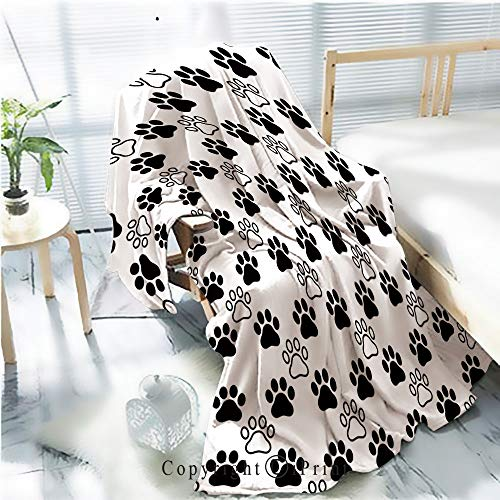 Printed Flannel Sherpa Back Blanket,Dog Paw Seamless Pattern Vector Footprint Heart Valentine cat Kitten Puppy Bear Scarf Isolated Cartoon Repeat Wallpaper Tile Background Illustration White Black R