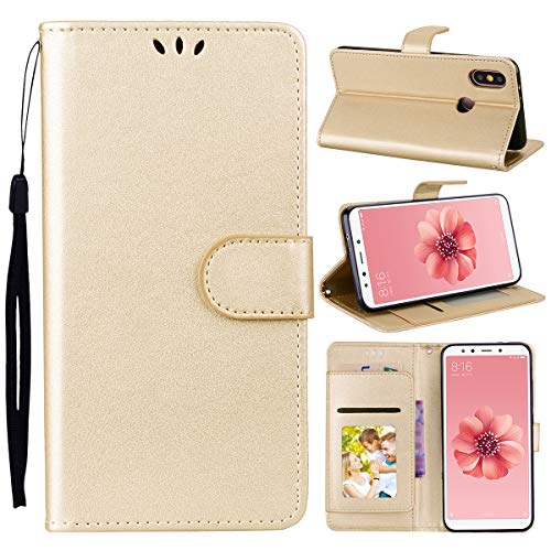 Xiaomi Mi 8 Case, Lifeepro Luxury PU Leather Wallet Case, Folding Kickstand, Folio Design ID Card & Cash Slot, Magnetic Clasp Closure Protective Phone Cover Xiaomi Mi 8 - Golden ()