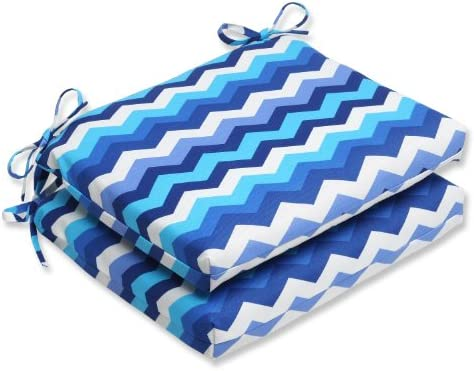 Pillow Perfect Outdoor Panama Wave Squared Corners Seat Cushion, Azure, Set of 2