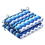 Cheap Pillow Perfect Outdoor Panama Wave Squared Corners Seat Cushion, Azure, Set of 2