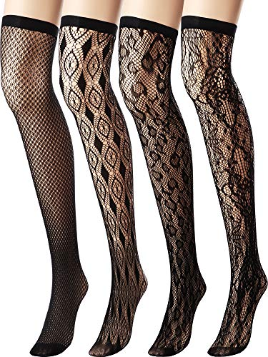 Chengu 4 Pairs Woman's Black Lace Top Thigh-High Fishnet Stockings Silk Stockings (Multicolor 3)