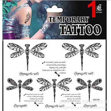 - Temporary Tattoos Stickers Non Toxic Glitter Waterproof Multicolored Glitter 1 Package Dragonfly , 3#