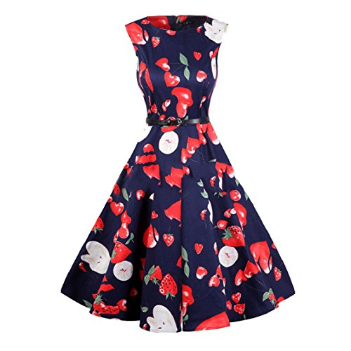 Swing Print Dress Flower Sleeveless Pattern14 Women Rockabilly Coolred Oversized Hepburn wvxq6OnT0