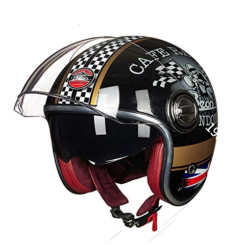 BeON-Helmets-Warrior-Motorbike-Half-Helmet-with-Sun-Shield-for-Men-and-Women-Adjustable-Size-Half-face-for-Bike-Cruiser-Chopper-Moped-Scooter-ATV