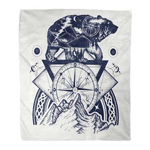 Golee Throw Blanket Bear Double Exposure Mountains Compass Tattoo Tourism Symbol Adventure Great 50x60 Inches Warm Fuzzy Soft Blanket for Bed Sofa Bear Adventure Fleece Bed
