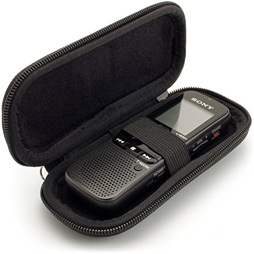 iGadgitz Black EVA Carrying Hard Case Cover for Sony ICD-BX140, ICD-PX240 370 470 820, ICD-UX560 Digital Voice Recorders
