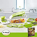 Chop 'n' Slice Pro - Mandolin & Chopper with Storage Lid - 7 Interchangeable Blades for Chopping, Slicing, Cutting, Dicing, Grating & Julienne Slicing - Perpetual Peeler and eBook ...