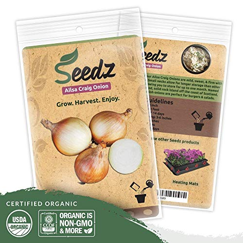 Organic Onion Seeds (APPR. 225) Ailsa Craig Onion - Heirloom Vegetable Seeds - Certified Organic, Non-GMO, Non Hybrid - USA