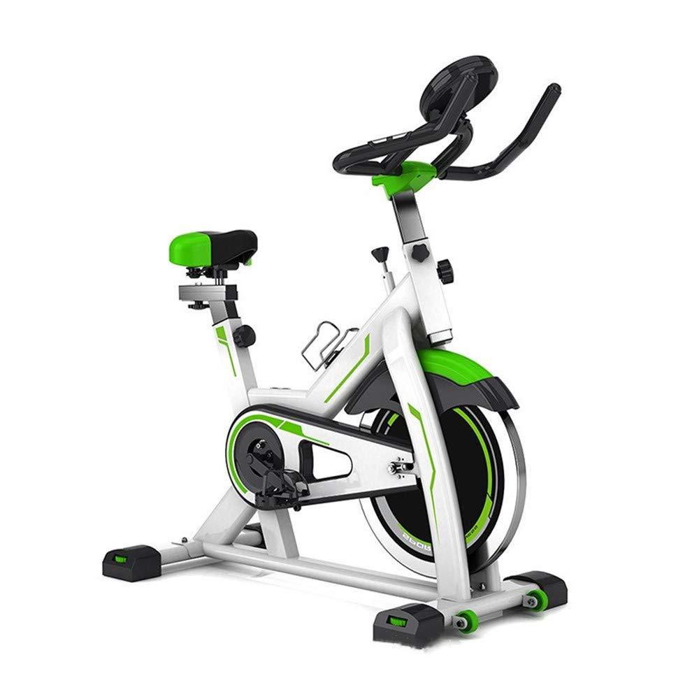 スピンバイク 本格的ホイール 静音 家庭用 屋内サイクリングバイク、サイクルトレーナーエクササイズ自転車の心拍数フィットネスステーショナリーバイク、LCDディスプレイ サドル調整可 移動キャスター付き B07SPHZN4X