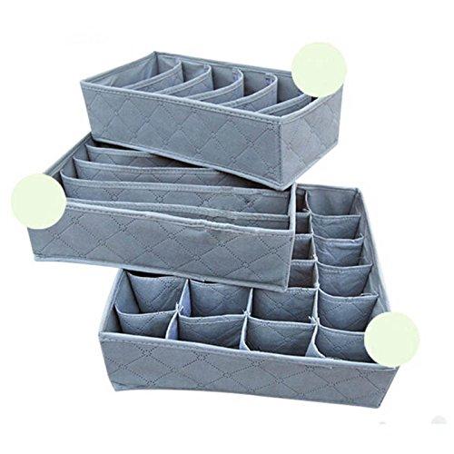 3Pcs, 24-Cell, 7-Cell, 6-Cell Panty Underwear Socks Ties Bras Organizer Storage Bag Box